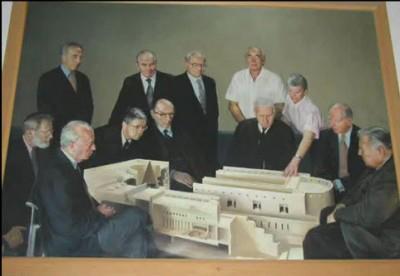 Картина на входа на Върховния съд на Израел - Ротшилд с Шимон Перес и Исак Рабин