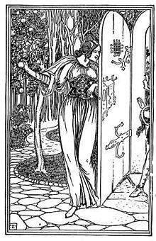 Дъщерята на евреина убиец примамва Хю в градината си. Илюстрация  от худочника и илюстратор Джордж Уортън Едуардс.