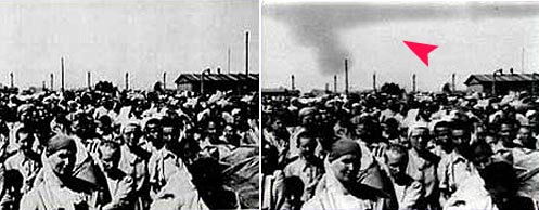 Снимката вдясно е посочена като веществено доказателство на процесите в Нюрнберг срещу елита на нацистка Германия. Вляво пък е оригинала, без излизащия пушек от комините, който трябва да символизира горящите хора. Снимката е от Аушвиц.