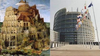 Рисунка на Вавилонската кула и Европейския парламент