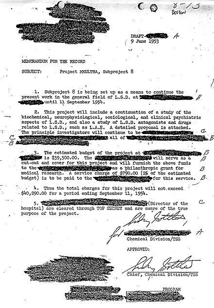 Д-р Сидни Готлиб одобри в това писмо подпроект на MKUltra с LSD през 09 Юни 1953.