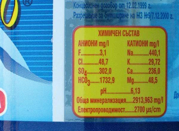 """Минерална вода """"Михалково"""" с високо съдържание на флуорид - 3,1 мг/л."""