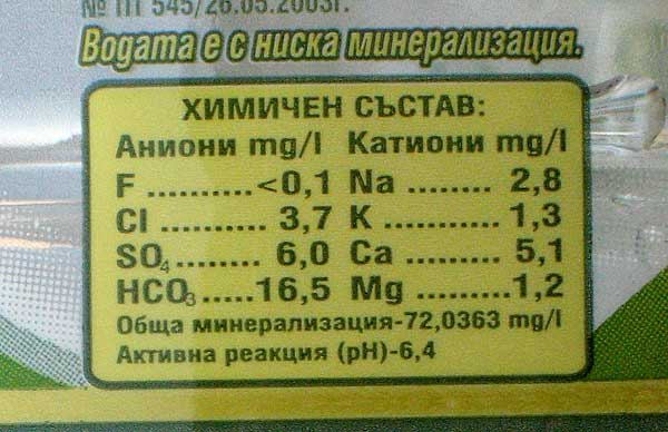 """Минерална вода """"Михалково"""" с ниско съдържание на флуорид - под 0,1 мг/л."""