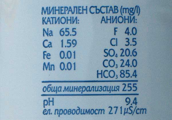 """Минерална вода """"Девин"""" с високо съдържание на флуорид - 4 мг/л. Има вода от същата марка - изворна - с ниско съдържание. Снимки: авторката"""