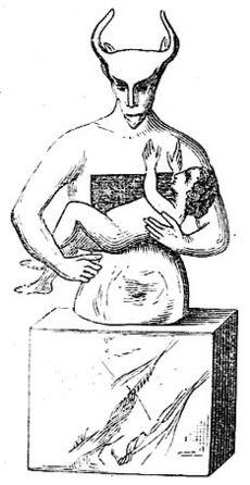 Статуя на Молох с поредната му жертва