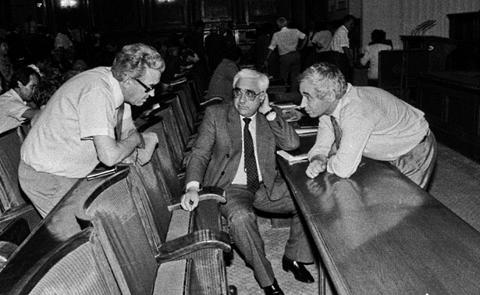 Станко Тодоров, Андрей Луканов и Жельо Желев в пленарната зала на Великото народно събрание.