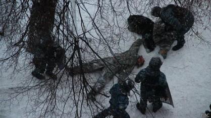 Първата жертва станала по време на бунтовническия щурм на ул. Грушевского, Сергей Нигоян.