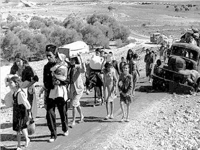 1948 г. Прокудени  от земите и домовете си палестинци.