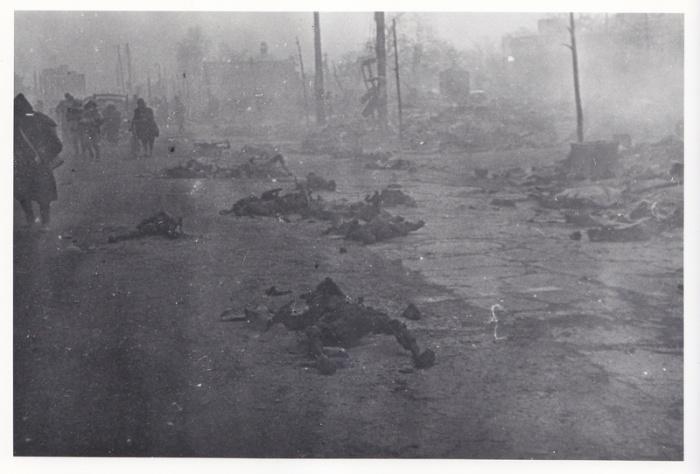 Жертви на бомбардировките над Токио по улиците на града.