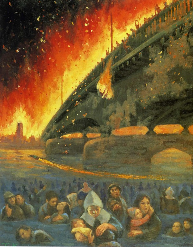 Рисунка на моста Кототои направена от Кано Теруо, който бил на 14 годинки по време на атаката. Загубил майка, баща и сестри, цялото семейство