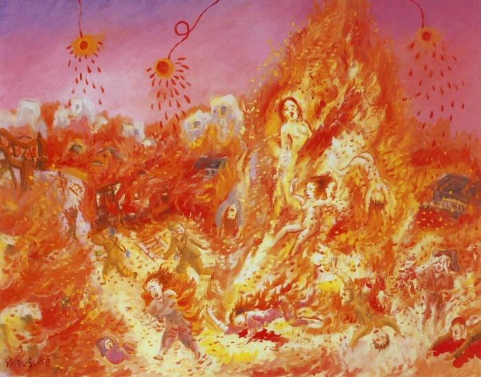 Рисунка на Фукушима Ясусаке, 6 г. по време на бомбардировката