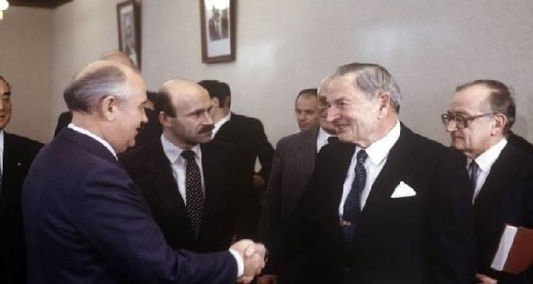 Михаил Горбачов и Дейвид Рокфелер