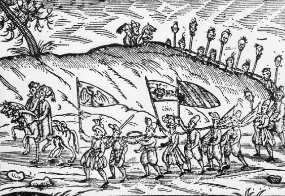 Османци с християнски роби, рисунка от 1639 г. (S. Schweigger)