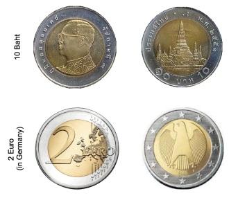 2 Euro - 10 Baht