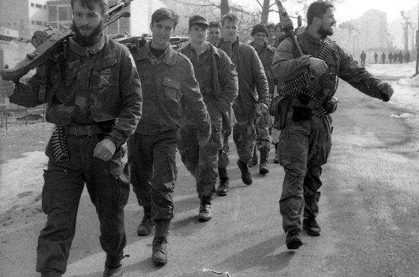 Мюсюлмански борци в Сребреница, където беше извършено известното клане