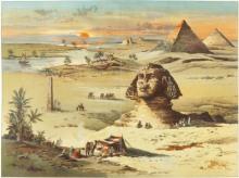 Giseh, Sphinx u.Pyramiden / Farblitho. - Giza / Sphinx a.Pyramids / Col.Litho. -